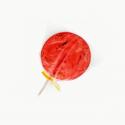 Chupeta de fresa con gusano